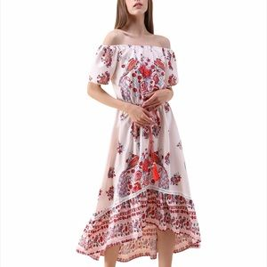 Chicwish Floral Peacock Off Shoulder Boho Midi Dress   Small